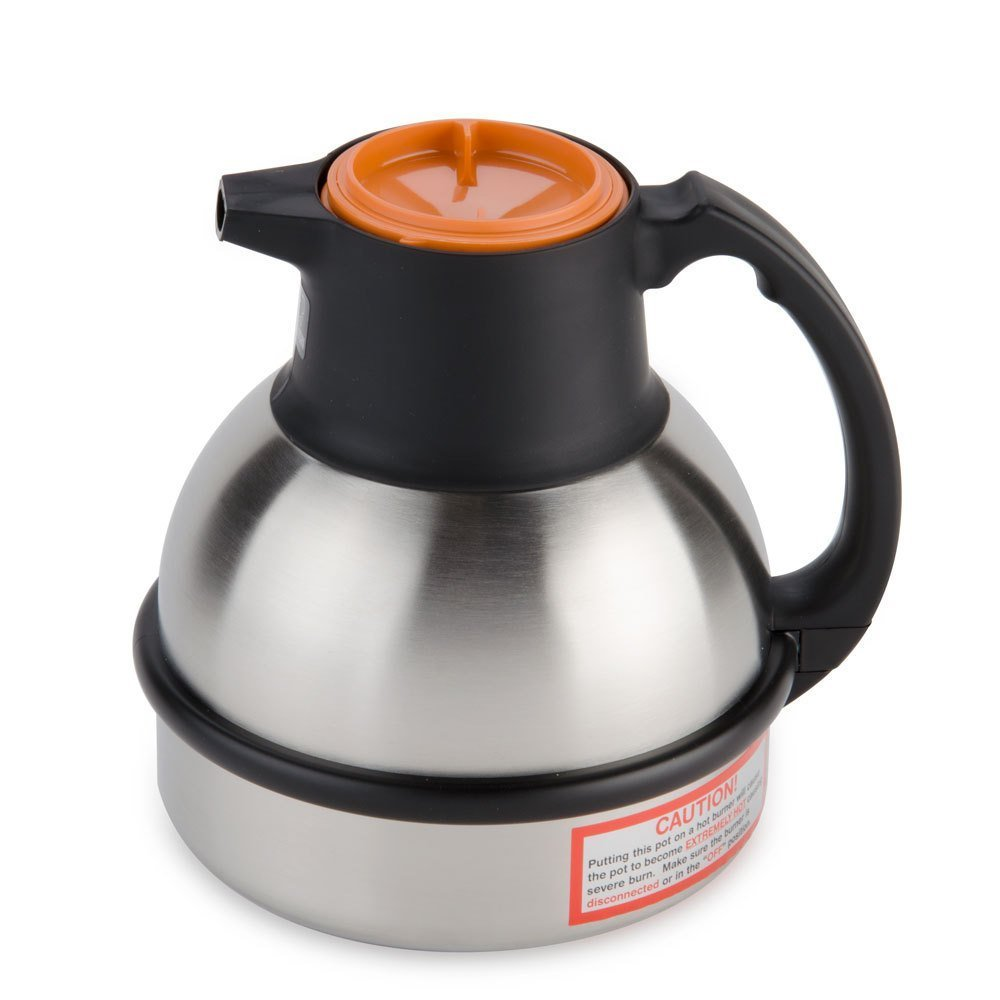 Bunn - Zojirushi 64 oz. Stainless Steel Deluxe Thermal Carafe - Orange Top (Bunn 36252.0000)