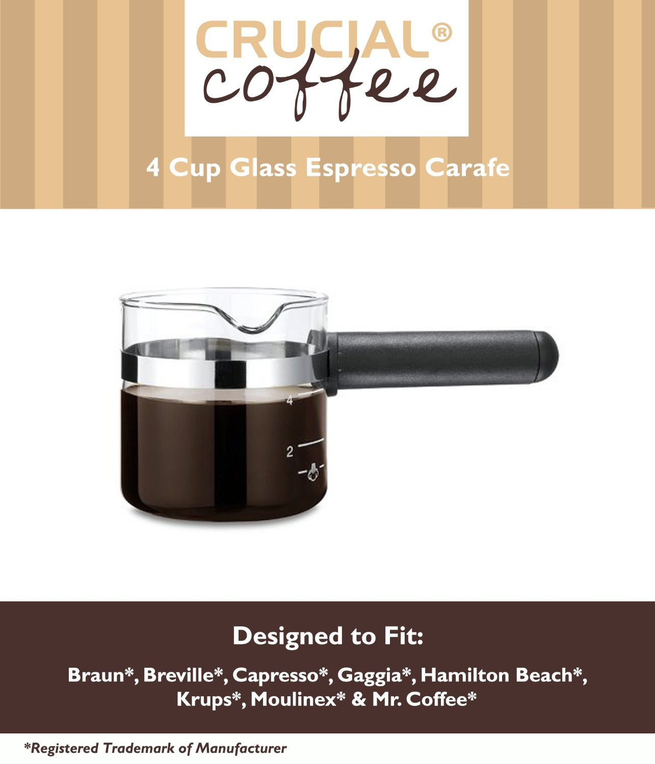 Universal Fit 4 Cup Glass Espresso Carafe